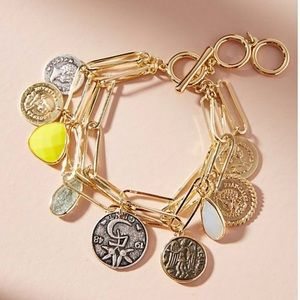 Anthropologie Counting Coins Charm Bracelet